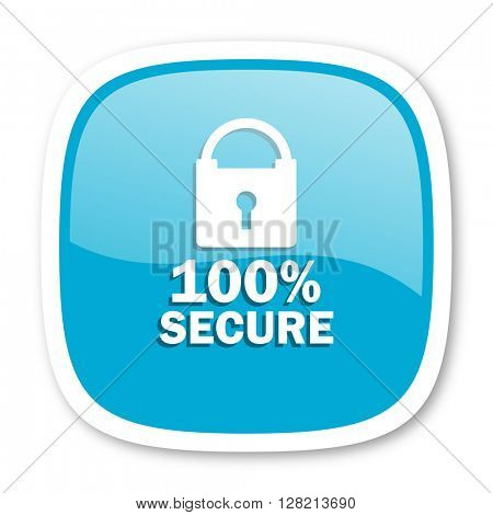 secure blue glossy icon