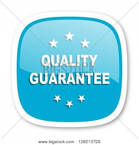 quality guarantee blue glossy icon