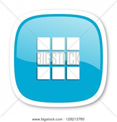 thumbnails grid blue glossy icon