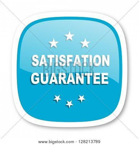satisfaction guarantee blue glossy icon