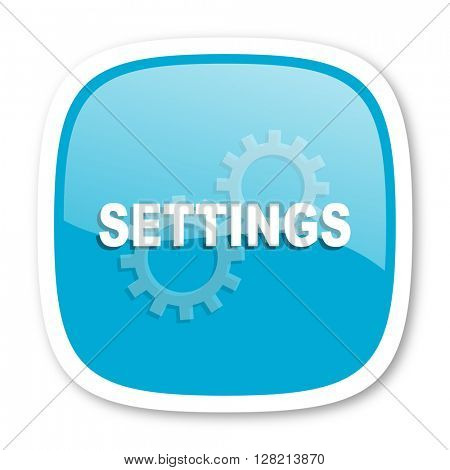 settings blue glossy icon