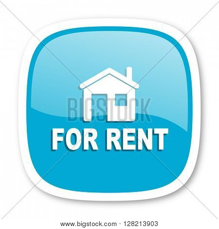 for rent blue glossy icon