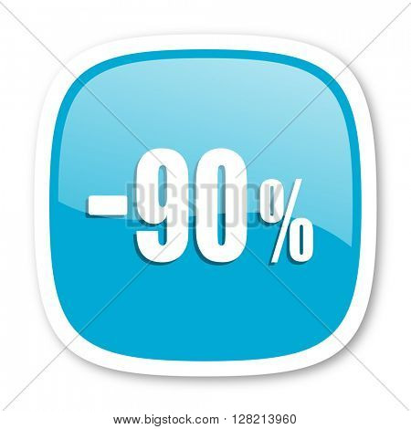 90 percent sale retail blue glossy icon
