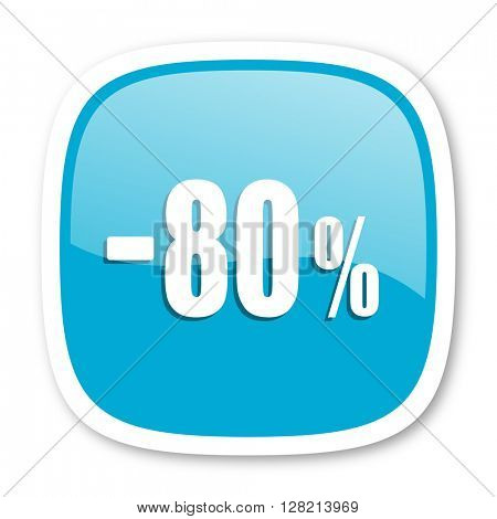 80 percent sale retail blue glossy icon