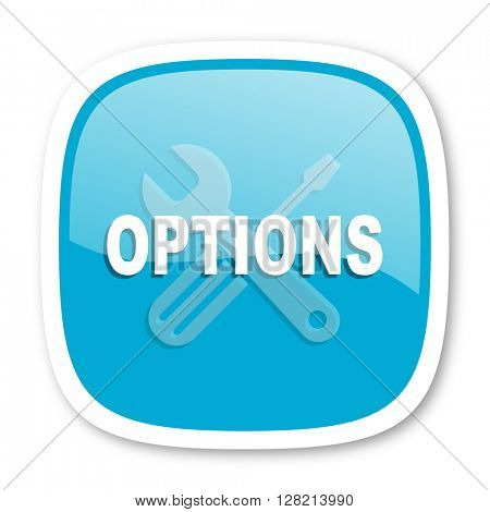 options blue glossy icon