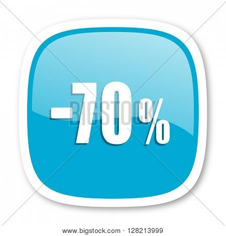 70 percent sale retail blue glossy icon