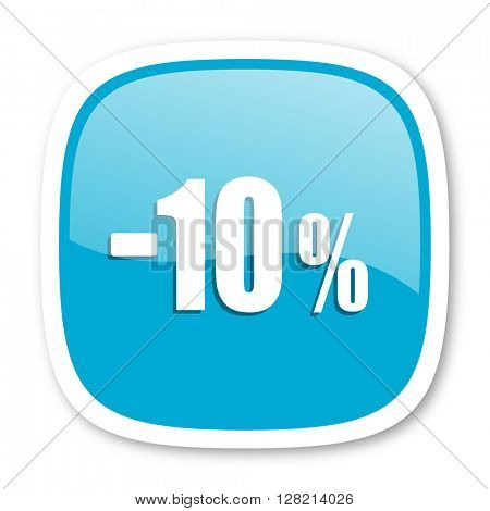 10 percent sale retail blue glossy icon