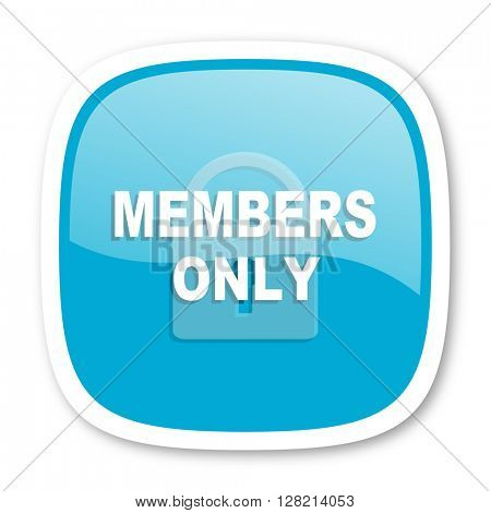 members only blue glossy icon