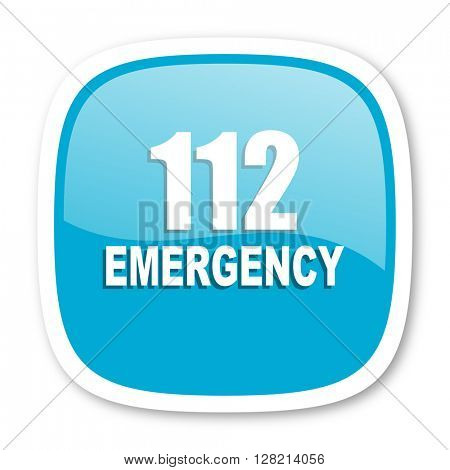 number emergency 112 blue glossy icon