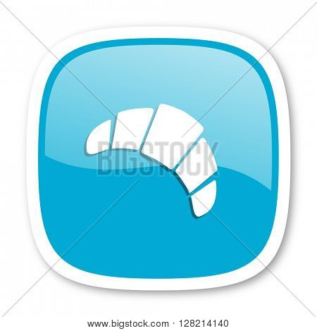 croissant blue glossy icon