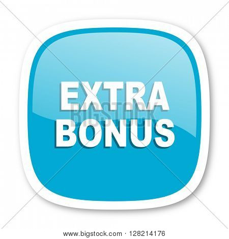 extra bonus blue glossy icon