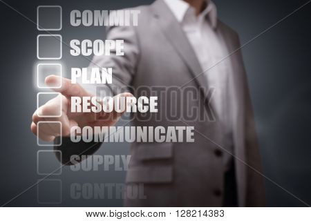 Businessman selecting project management stage options for planning and strategy