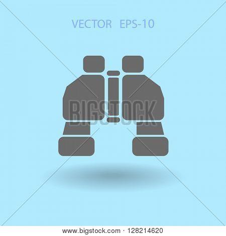 Flat long shadow Binoculars icon, vector illustration