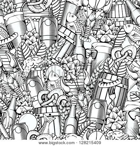 Beer Seamless Pattern in Outline Hand Drawn Doodle Style with Different Objects on Beer Theme. Beer and Snack. Black and White. All elements are separated and editable.  Vector Illustration.