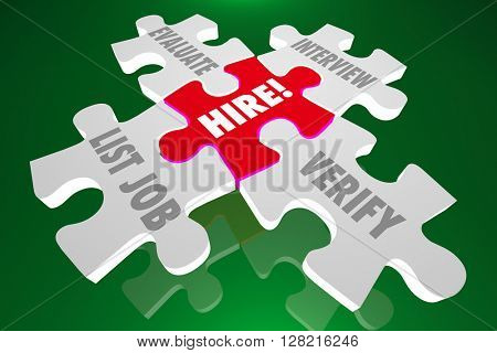 Hire New Employee List Job Candidates Interview Verify Puzzle Pieces 3d Illustration