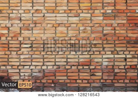 Vector low poly red brick wall grungy triangle texture