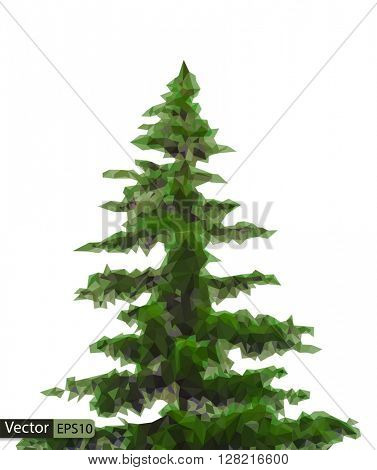 Vector low poly spruce tree