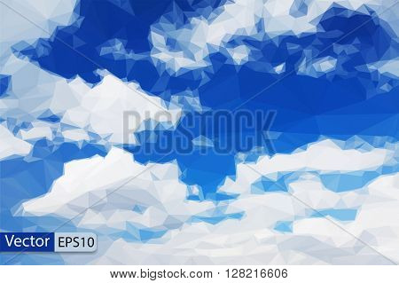 Vector low poly beautiful blue sky triangle background