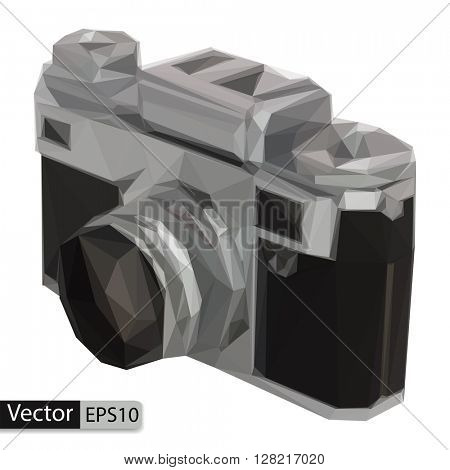 Vector low poly old photo camera on white background