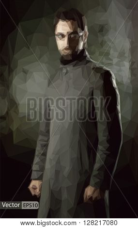Vector low poly handsome man in black coat over dark wall triang