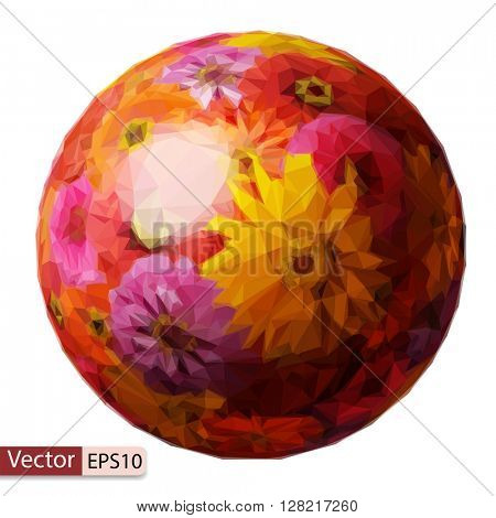 Vector low poly sphere from zinnia elegans flowers