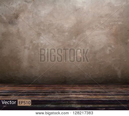 Vector low poly old room with concrete wall and wooden floor, ve