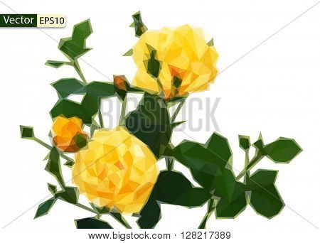 Vector low poly yellow roses bouquet on a white background