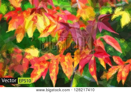 Vector colorful low poly background branch of autumn leaves