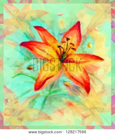 Floral Pattern, Bouquet with Lily Flower. Vector