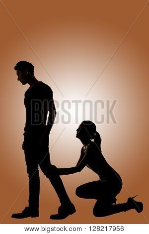 Silhouette of Asian couple begged another one not to leave, full length portrait isolate