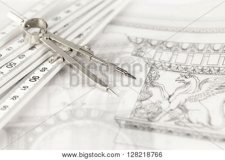 architectural drawing - detail column, folding ruler & compass