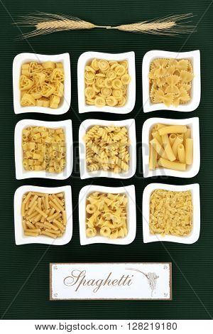 Italian dried food pasta selection with old wooden sign over ridged green background.