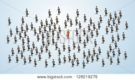 Red Businessman Human Resource Recruitment Candidate, Business People Crowd Hire Concept 3d Isometric Vector Illustration