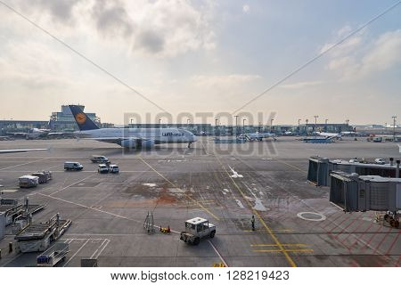 FRANKFURT, GERMANY - MARCH 13, 2016: view from Frankfurt Airport terminal. Frankfurt Airport is a major international airport located in Frankfurt and the major hub for Lufthansa