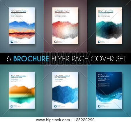 Set of 6 Brochures templates, Flyer Designs or Depliant Covers for business presentation and magazine covers, annual reports and marketing generic purposes.