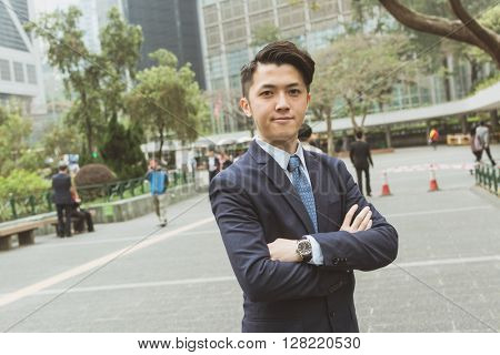 Asian businessman portrait in the outdoor, Hong Kong, Asia