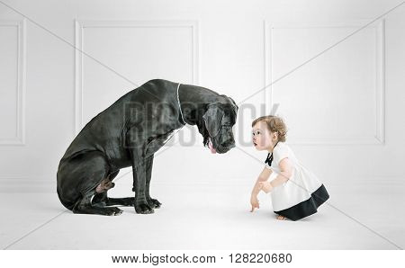 Little girl posing against a big dog
