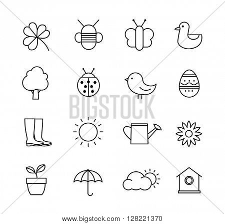 Collection of vector icons representing spring, nature and gardening. Thin lines design style.