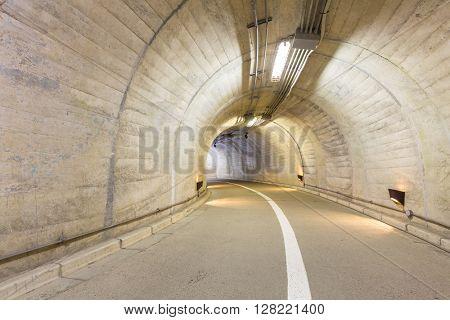 Interior of an urban walkway tunnel  road