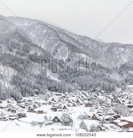 Winter Shirakawago with Snowfall Gifu Chubu Japan