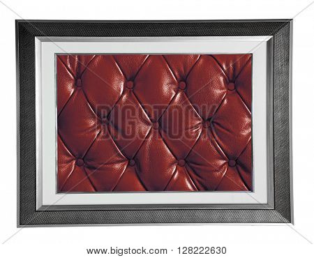 isolated silver modern photo frame with red Leather texture