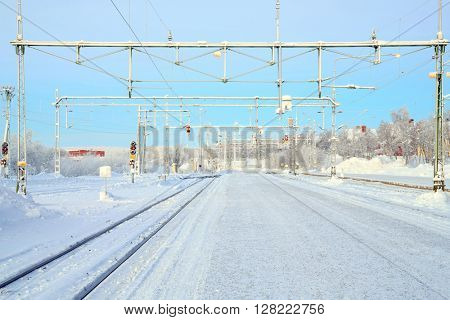 Winter Railroad platform in Kiruna Lapland train station sweden