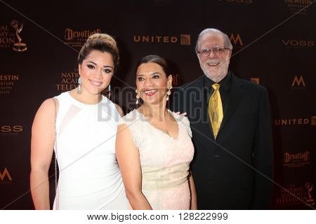 LOS ANGELES - MAY 1:  Gabriela Reagan, Sonia Manzano, Richard Reagan at the 43rd Daytime Emmy Awards at the Westin Bonaventure Hotel  on May 1, 2016 in Los Angeles, CA
