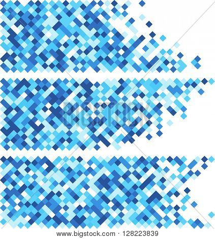 White abstract banners set with blue rhombus. Vector illustration.