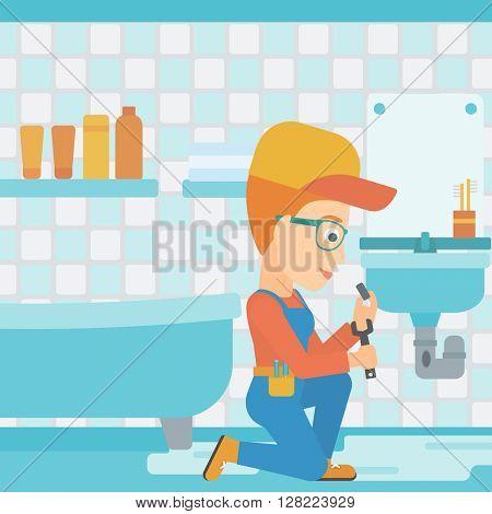 Woman repairing sink.
