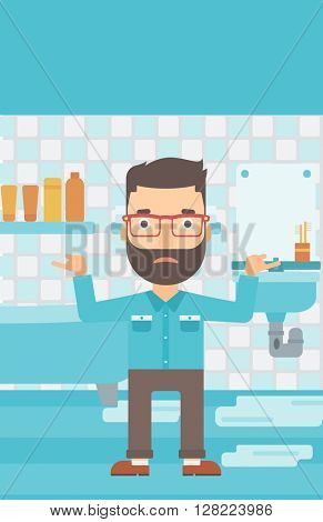 Man in despair standing near leaking sink.