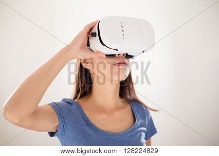 Woman watching via virtual reality