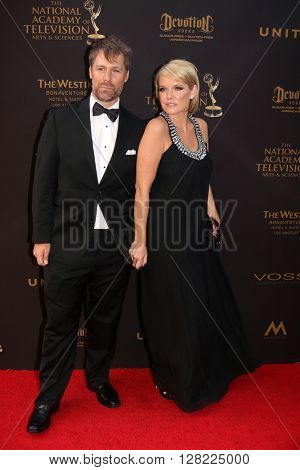 LOS ANGELES - MAY 1:  Scott DeFreitas, Maura West at the 43rd Daytime Emmy Awards at the Westin Bonaventure Hotel  on May 1, 2016 in Los Angeles, CA