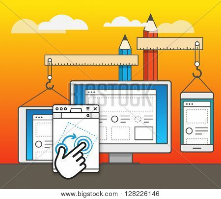 Web site constructor vector illustration. Web design concept