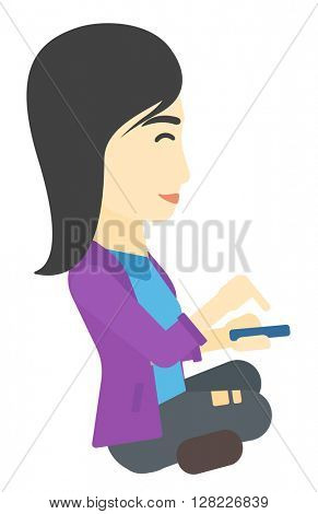 Woman using mobile phone.